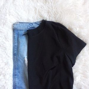 FOREVER21 black short sleeve boxy crop top